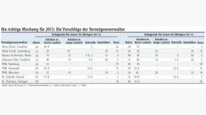 Infografik / Die richtige Mischung für 2013: Die Vorschläge der Vermögensverwalter