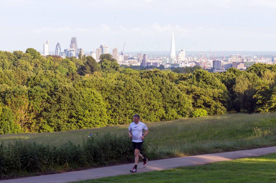 Grüne Oase: Hampstead Heath mit Blick auf Londons Zentrum