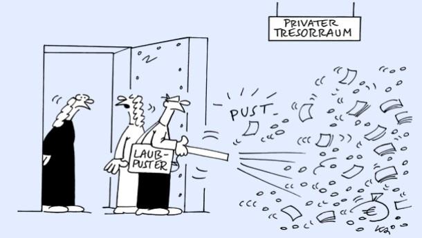 Karikatur / Kai / Laubpuster