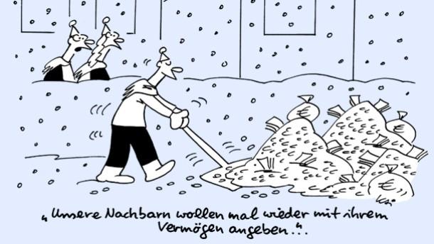 Karikatur / Kai / Unsere Nachbarn wollen mal wieder mit ihrem Vermögen angeben