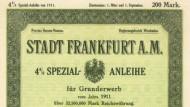 Was zum Anfassen: Eine historische Anleihe der Stadt Frankfurt von 1911.