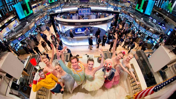"ast of New York City Ballet's production of Balanchine's ""The Nutcracker"" at the New York Stock Exchange"