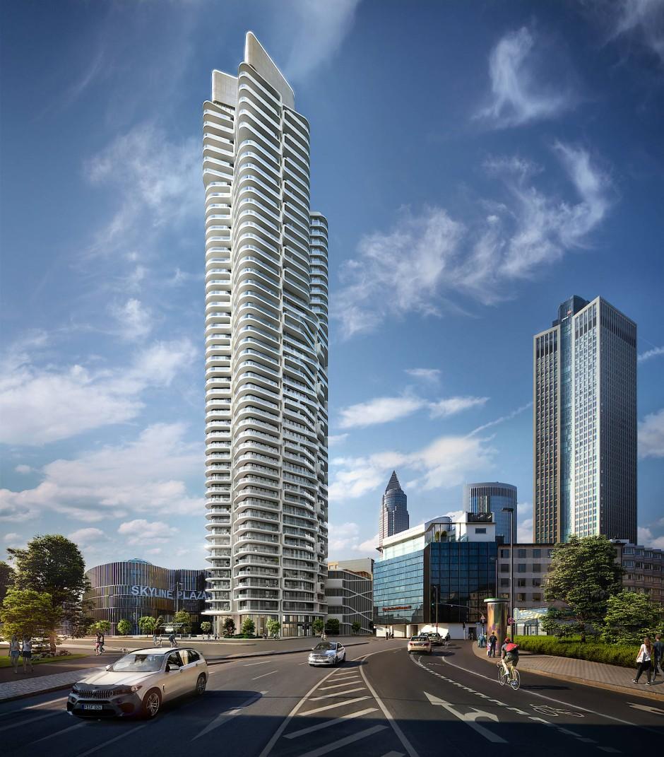 Der Grand Tower wird neben der Shopping Mall Skyline Plaza im Europaviertel gebaut.