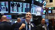 Amerikanischer Händler freut sich über den Börsenrekord