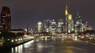 Die Skyline von Frankfurt mit den Bank-Hochhäusern.