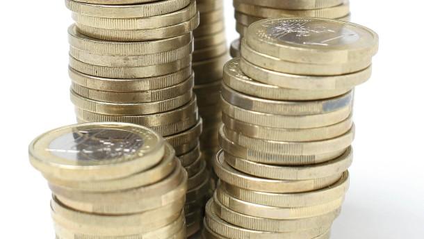 Sachaufnahme: Stapel Euromünzen