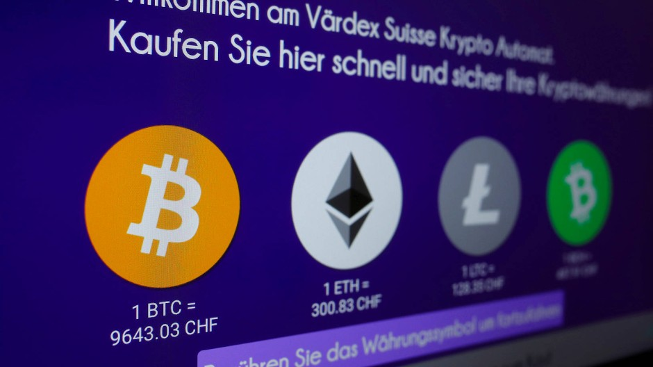 Bitcoin-Automat einer Bank in Zürich