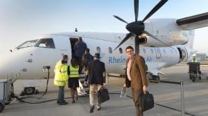 von Mannheim nach Berlin: Gerade einmal 30 Passagiere passen in dieses Flugzeug der Rhein-Neckar-Air.