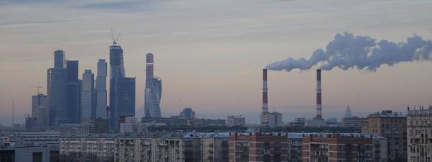 Trotz trüber Stimmung wächst das Geschäftsviertel Moskau City weiter in den Himmel.