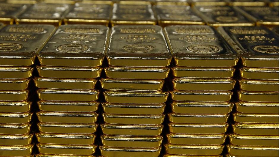 Goldbarren in einen Schweizer Lager von Argor-Heraeus