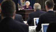 Im Blickpunkt: Die Fed-Präsidentin Janet Yellen erläutert der Presse geldpolitische Entscheidungen.