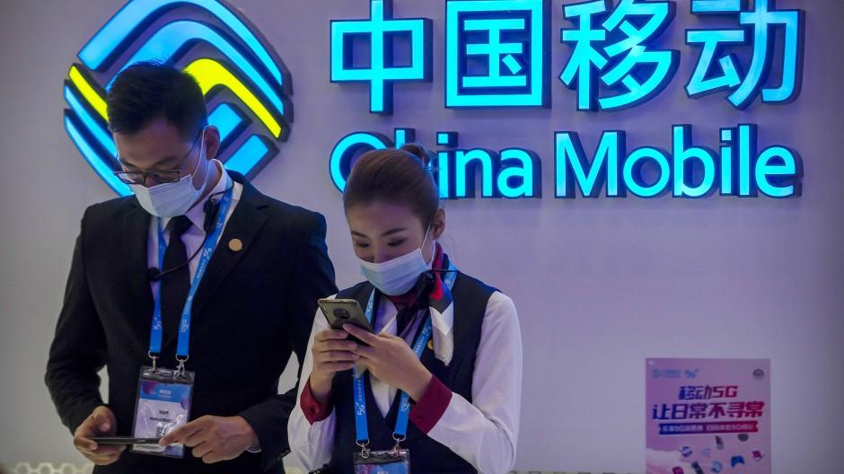 Kursturbulenzen: Mitarbeiter des chinesischen Telekomunternehmens China Mobile in Peking