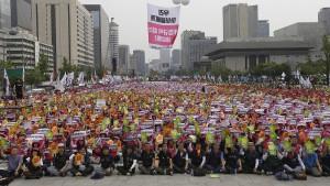 Demonstration für bessere Arbeitsbedingungen in Seoul im Juni 2017