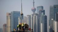 Blick auf das Finanzviertel Pudong von Schanghai.