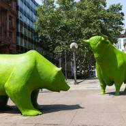 Die Symbole der Börse mit grünem Anstrich