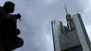 Dark clouds are seen over the head quarters of Germany's Commerzbank in Frankfurt