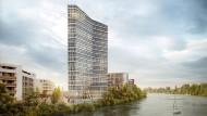 Beim Neubauprojekt Main Gate east in Offenbach plant Eyemaxx gemeinsam mit der Offenbacher OPG ein Bürohochhaus.