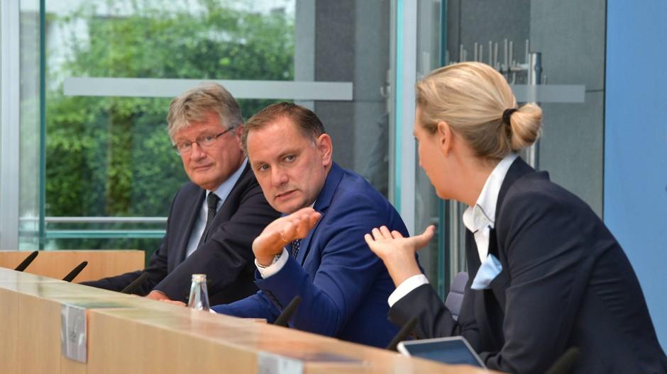 Jörg Meuthen, Tino Chrupalla und Alice Weidel am Montag in Berlin