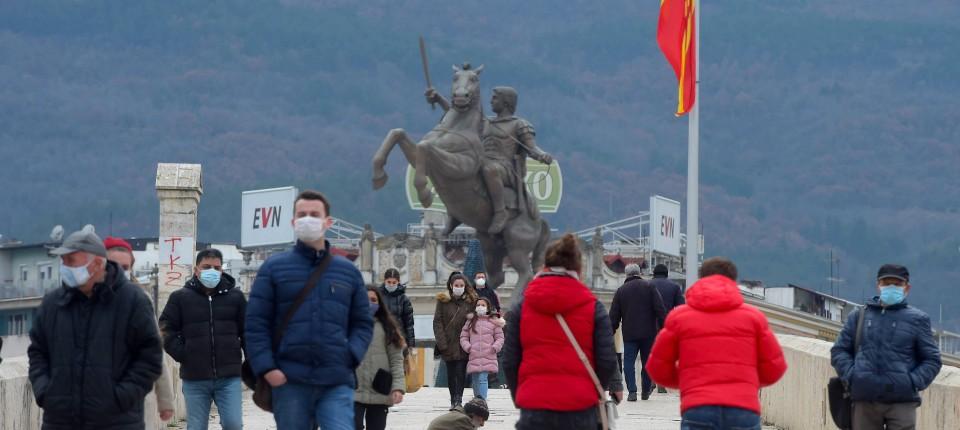 Viele Hürden für das Land: Das Zentrum der nordmazedonischen Hauptstadt Skopje im Dezember
