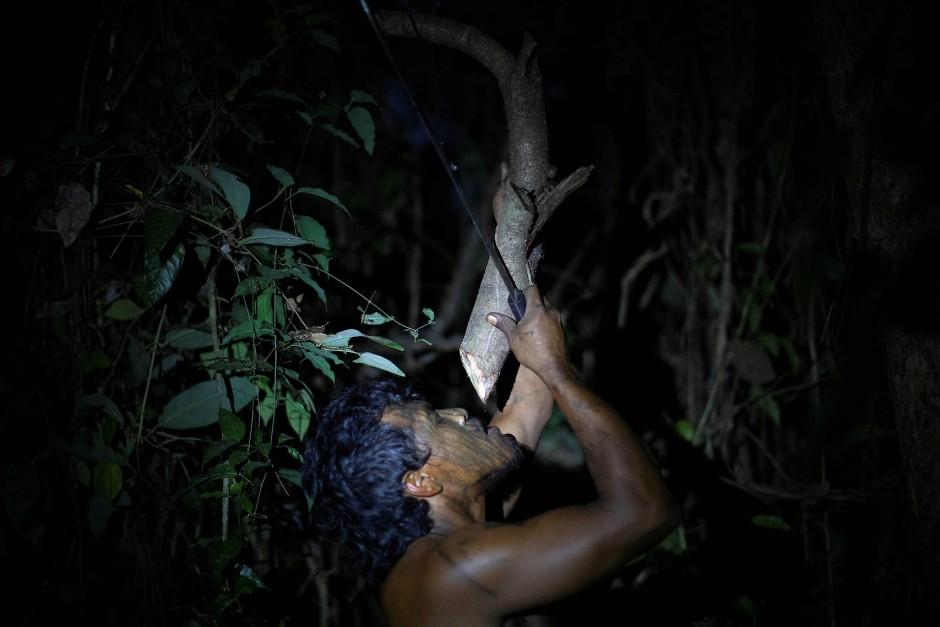 """Der letzte Tropfen: Ein """"Waldwächter"""" erfrischt sich in einem provisorischen Lager."""