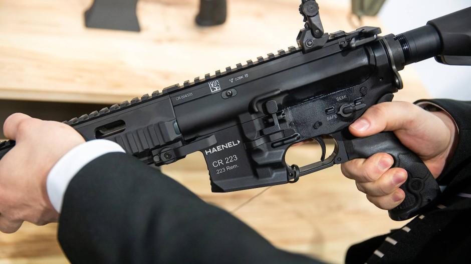 Ein Gewehr des Waffenherstellers Haenel auf einer Fachmesse für Jagd, Schießsport, Outdoor und Sicherheit im Jahr 2019