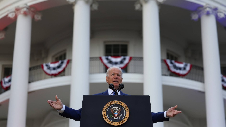 Präsident Joe Biden feiert am 4. Juli im Weißen Haus den Unabhängigkeitstag.
