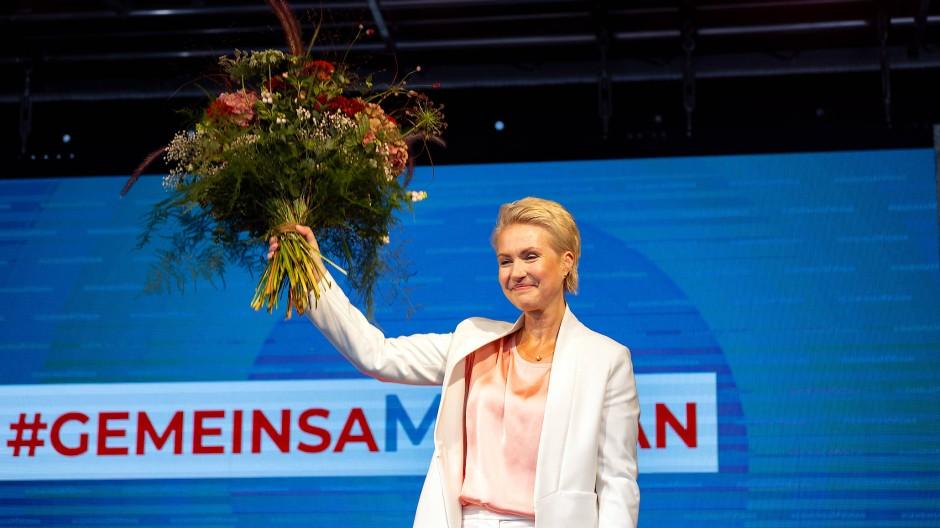 Klare Siegerin: Ministerpräsidentin Schwesig am Wahlabend in Schwerin