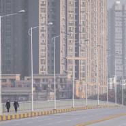 Leere Straßen in Wuhan am Dienstag