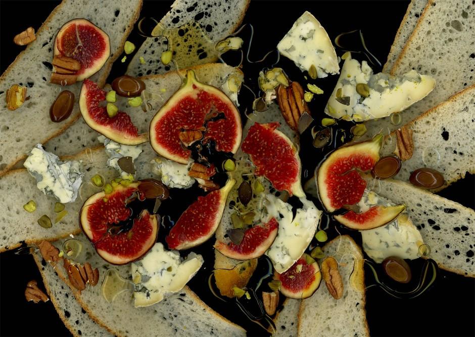 Feige, Blauschimmelkäse und Nüsse