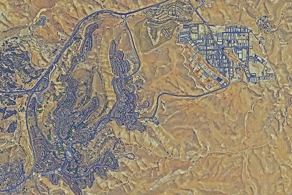 Die Satellitenaufnahme zeigt die israelische Siedlung Maale Adumin 2018