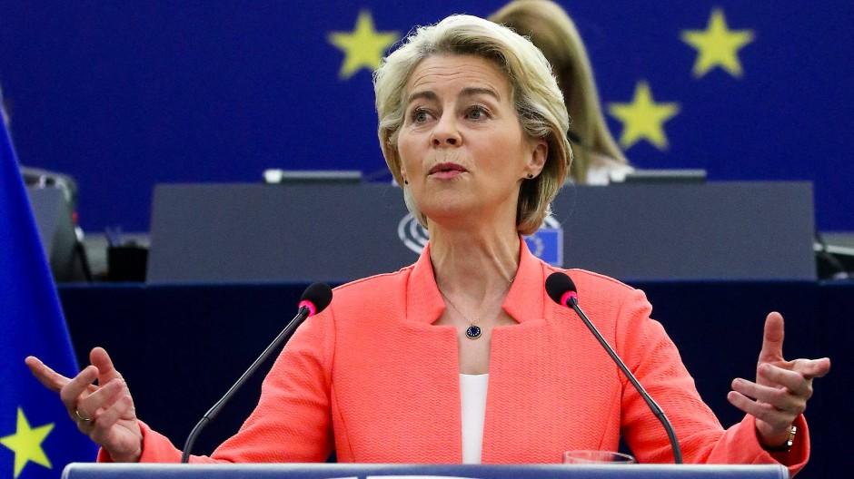 EU-Kommissionspräsidentin Ursula von der Leyen hält die Rede zur Lage der Union in Straßburg