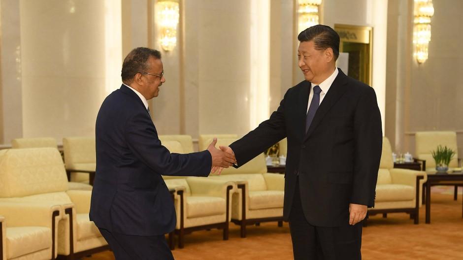 Tedros Adhanom Ghebreyesus, Generaldirektor der WHO, und Chinas Chinas Präsident Xi Jinping bei einem Treffen Ende Januar in Peking.