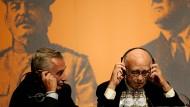Das Erbe der Großväter: Jewgeni Dschugaschwili (links) und Winston Churchill im Jahr 2005 während einer Konferenz in Maastricht über Europa 60 Jahre nach dem Pakt von Jalta.