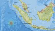 Das Epizentrum des Erdbebens liegt südwestlich von Sumatra.