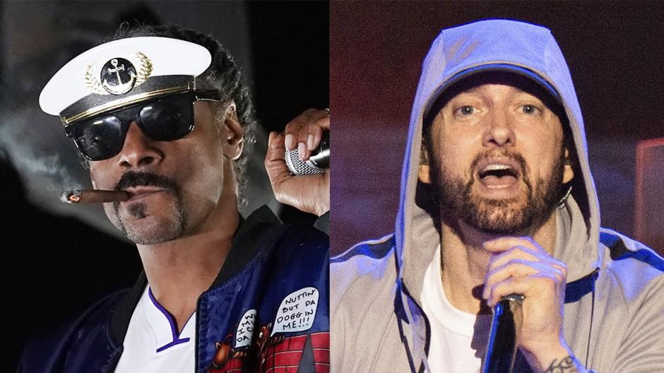 Die US-amerikanischen Rapper Snoop Dogg und Eminem, die bei der Halbzeit-Show auftreten werden.