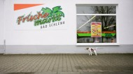 Ein bisher unbekanntes Logo: Der Bürger-Supermarkt in Bad Schlema