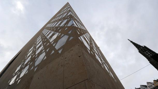 Davidsternen die neue synagoge in ulm rechts der turm des münsters