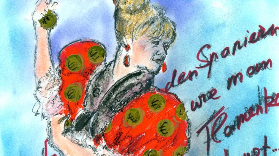 Zeigt, wie man Flamenco tanzt: Angela Merkel (für Vollansicht auf das Bild klicken)