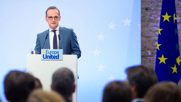 """Maas stellt Europa-Vision vor: """"Europe United"""" gegen """"America First"""""""