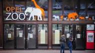 Ein junges Paar steht am Dienstag vor den verschlossenen Türen des Kronberger Opel-Zoos. Ein Pelikan war hier an Vogelgrippe erkrankt.