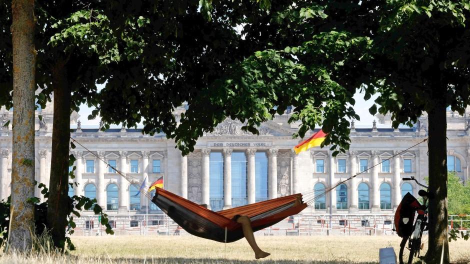 Je trockener das Gras, wie hier Mitte Juni in Berlin, desto mehr beeinflussen Klima-Themen die Politik. Und davon könnten die Grünen bei der Wahl im Herbst profitieren.