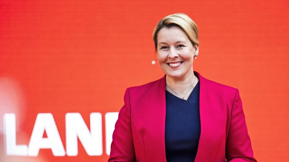 Franziska Giffey, Spitzenkandidatin der SPD Berlin für die Wahl zum Abgeordnetenhaus, am 27.08.2021