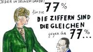 Für sie: 77%, gegen ihn: 77% (zur Vollansicht auf das Bild klicken)