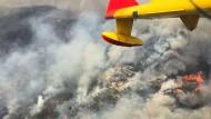 Diese Aufnahme aus einem spanischen Löschflugzeug zeigt das Ausmaß der Katastrophe.