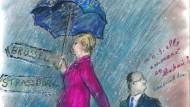 Karl Lagerfeld setzt seine Merkel-Hollande-Reihe fort.
