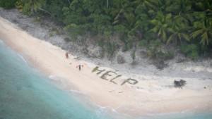 Schiffbrüchige schreiben Help aus Palmwedeln