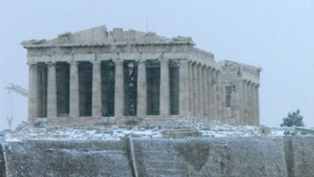 Die Akropolis ist tief verschneit