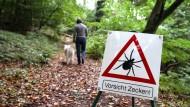 Mit Warnschildern werden Wanderer auf die Gefahr durch Zecken aufmerksam gemacht (Archivbild). Doch offenbar können nicht nur die Borreliose übertragen.