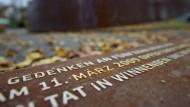 """In Winnenden erinnert das Mahnmal """"Gebrochener Ring"""" an den Amoklauf vom 11. März 2009."""