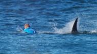 Mit einer ordentlichen Portion Glück: Surfer Mick Fanning schafft es, dem Hai zu entfliehen.
